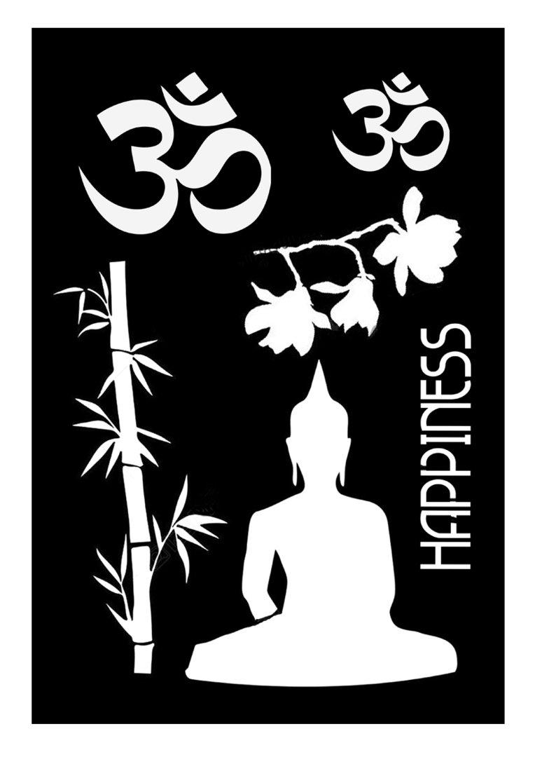 schablone buddha buchstaben scrabooking text motivschablone f r acrylmalerei und mehr. Black Bedroom Furniture Sets. Home Design Ideas