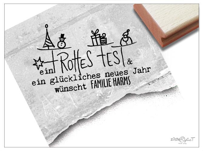 Individueller Stempel - FROHES FEST personalisiert - zAcheR-fineT