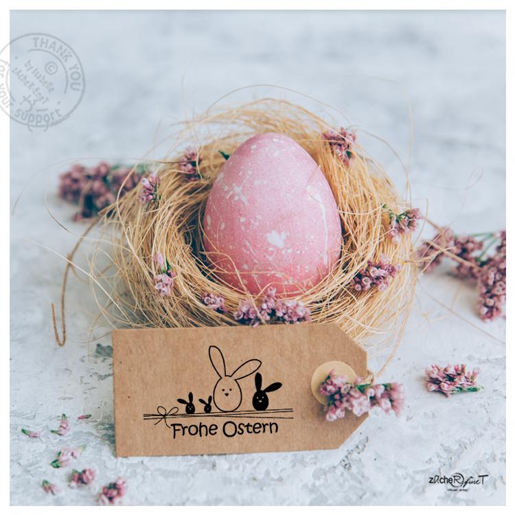 Osterstempel Frohe Ostern Mit Süßen Hasen Zacher Finet