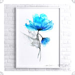 Poster Floral Watercolor Abstract Blue